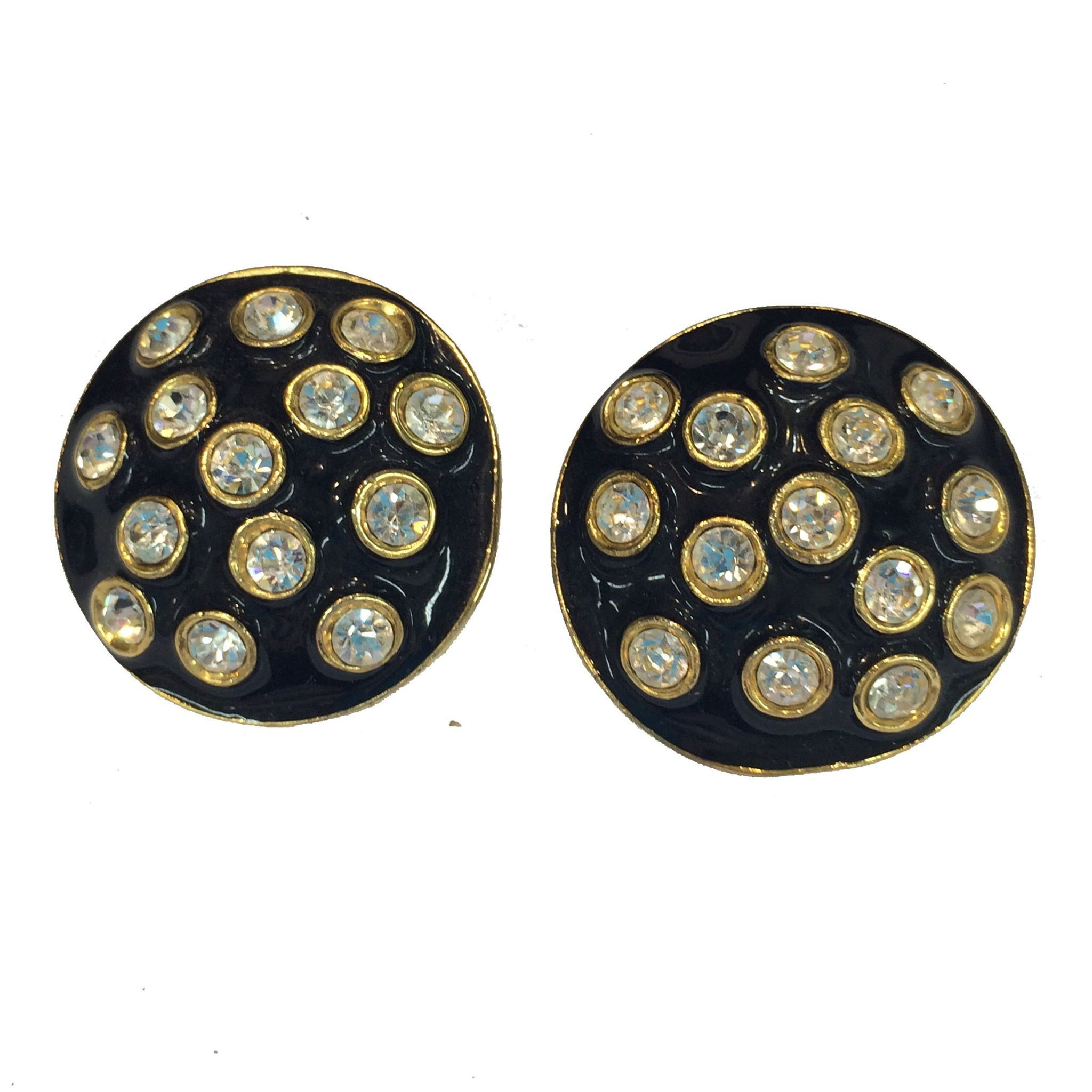 Black Enamel and Clear Rhinestone Earring With Gold Tone Metal Base