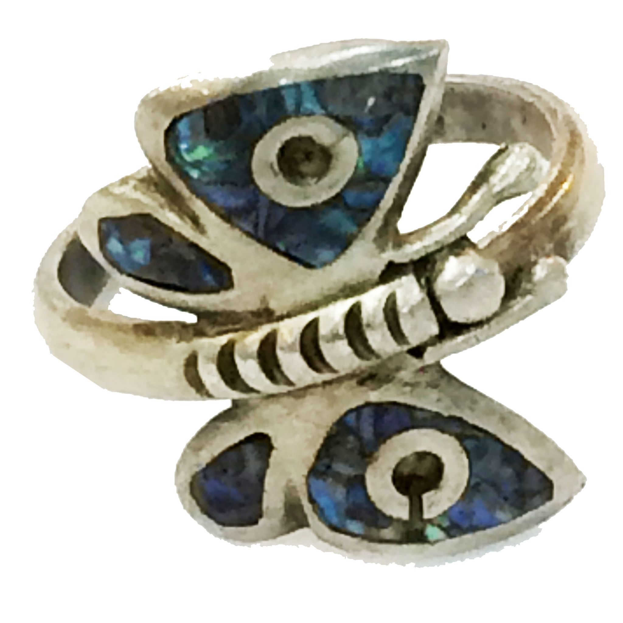 Peacock Shell Inlay Sterling Butterfly Ring
