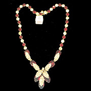 KRAMER Tagged Deep Red and Clear Rhinestone Budding Flower Necklace