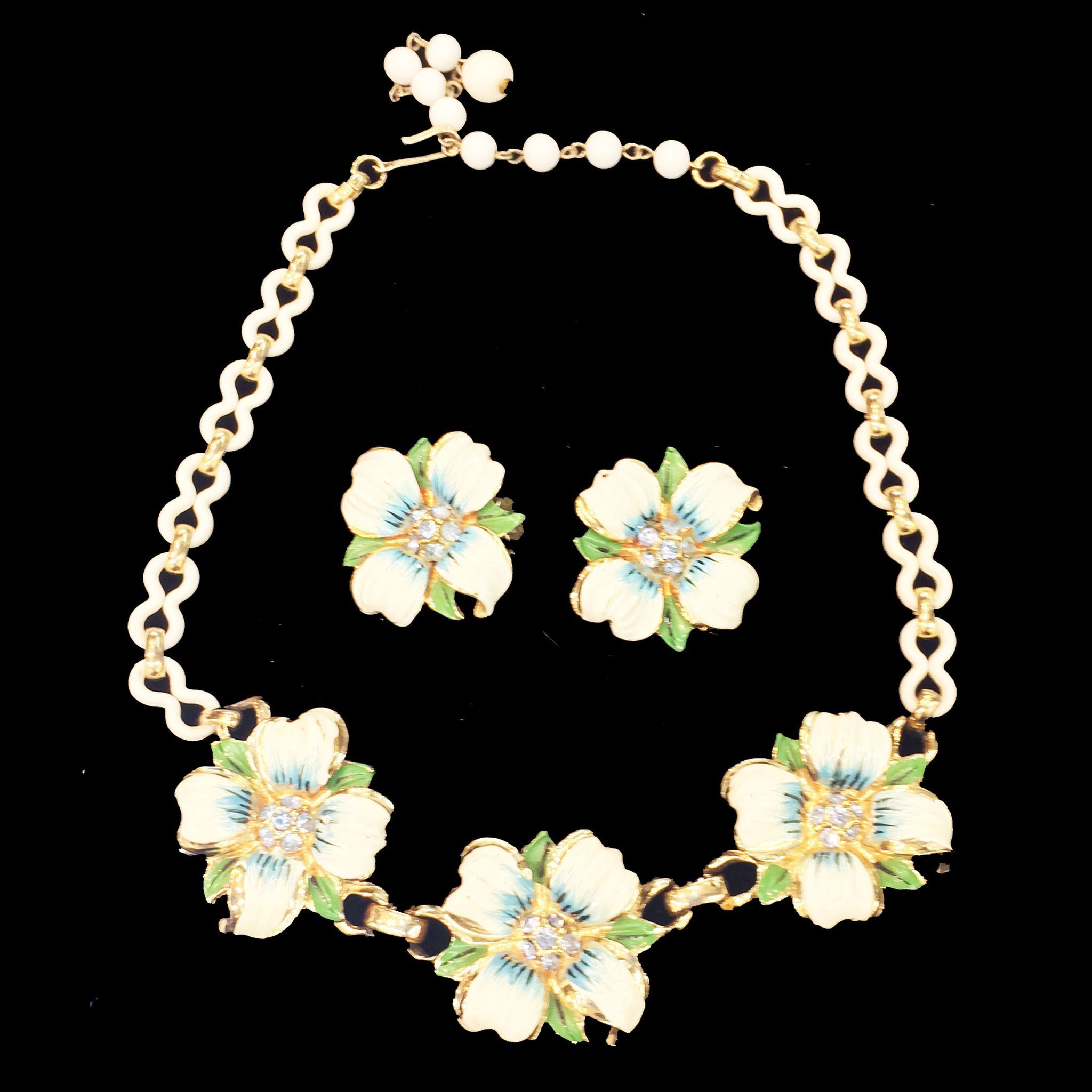 CORO Enameled Flower and Blue Rhinestone Necklace and Earrings with Celluloid Chain