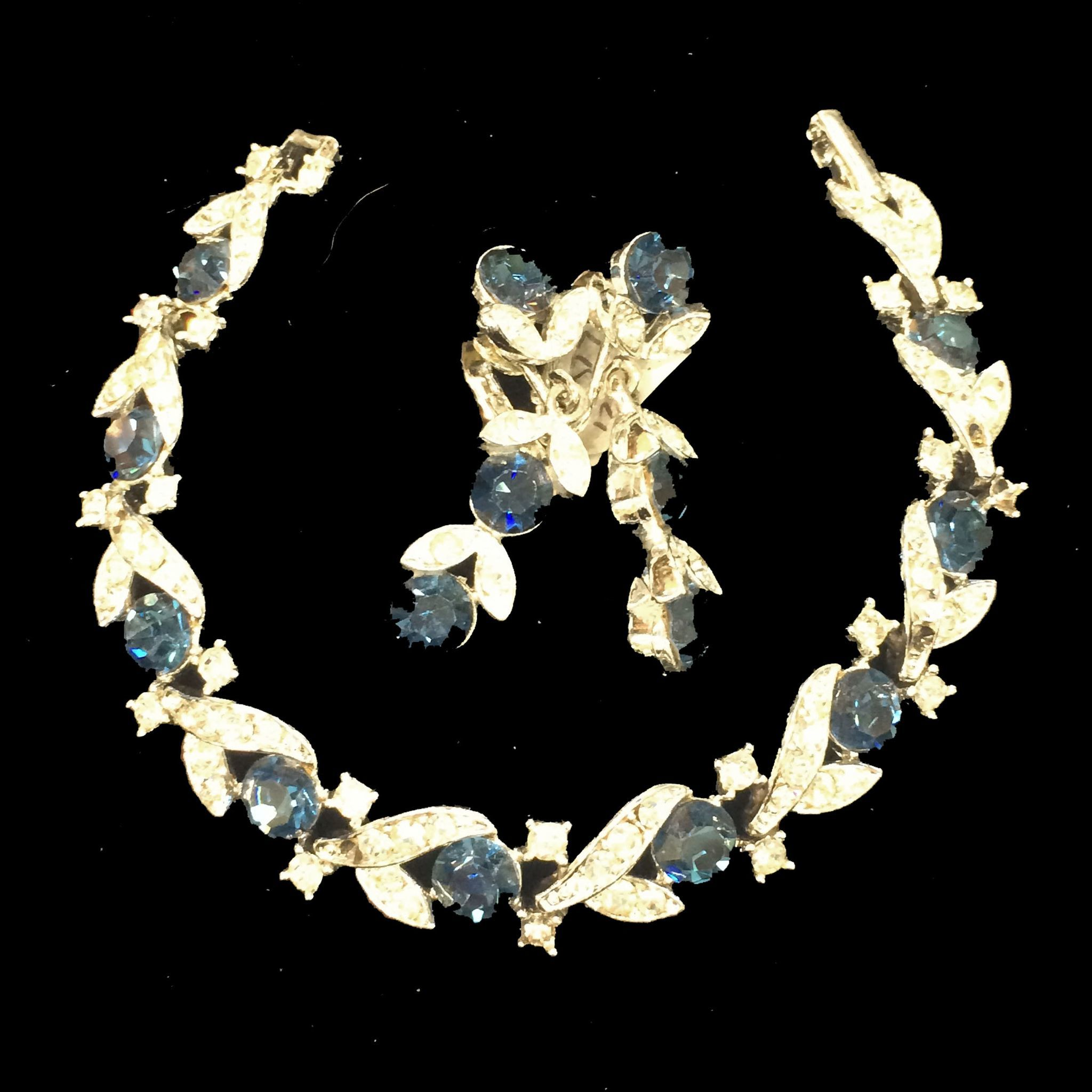 LISNER Montana Blue and Clear Rhinestone Bracelet and Drop Earrings