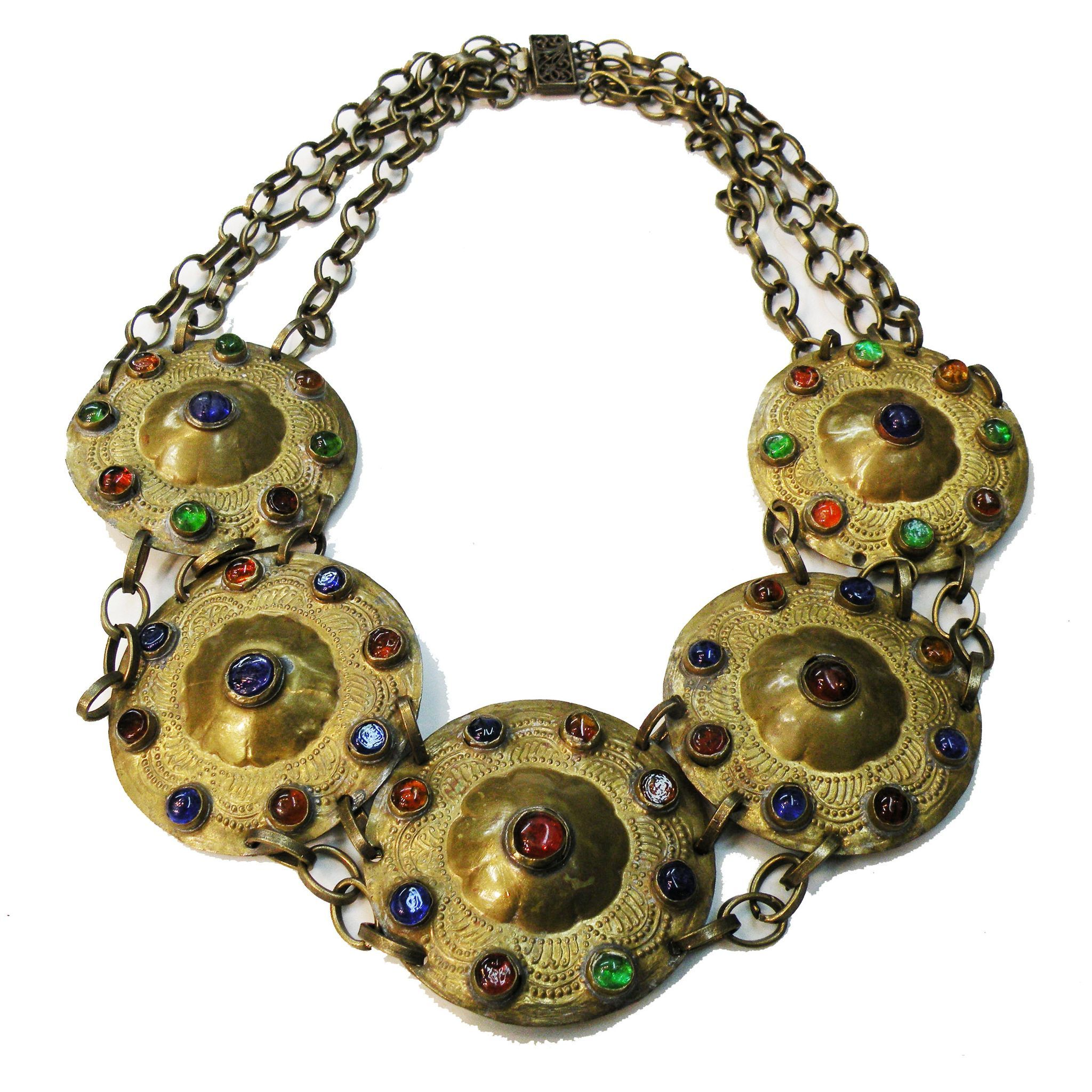 Large Brass Disc and Multi Color Mogul Cabochon Linked Necklace