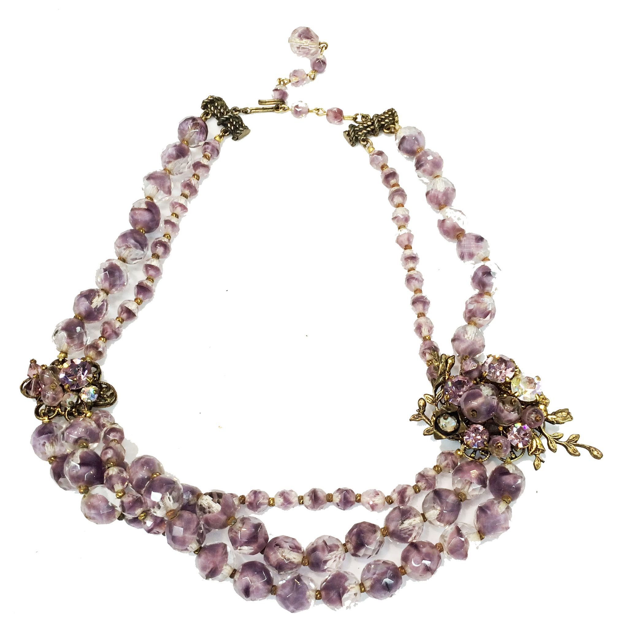 Ladylike Lilac and Clear European Glass Bead Necklace with Triple Strand Drop and Brass Detailing