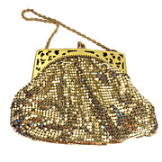 Signed Whiting and Davis Gold Tone Metal Mesh Purse with Cut Out Frame