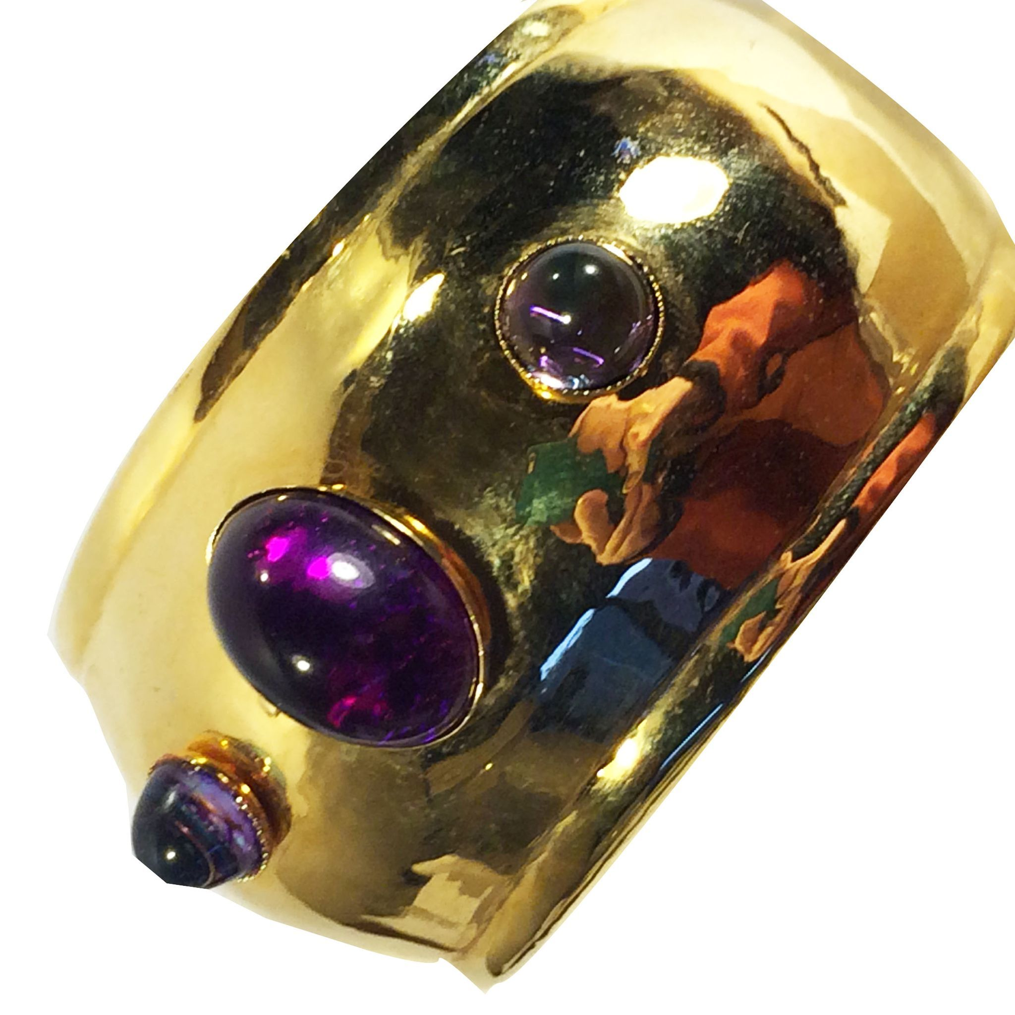 Bright Gold Tone Metal and Shade of Purple High Domed Cabochon Cuff Bracelet