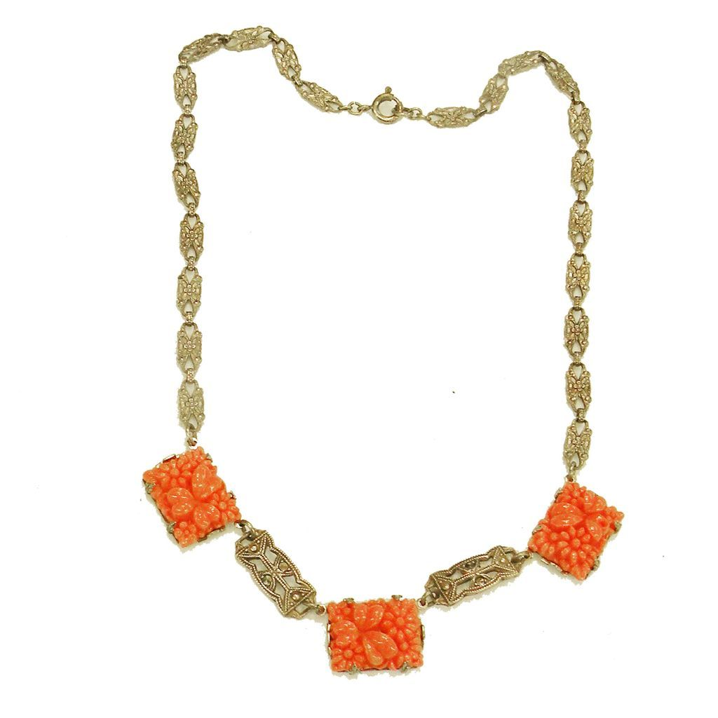 Art Deco Sterling and Carved Coral Colored Resin Drop Necklace