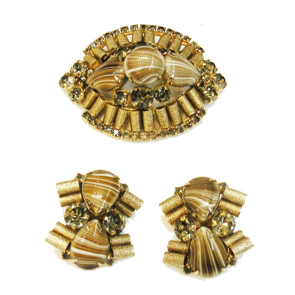 Swirling Coffee Au Lait Glass Stone and Textured Metal Brooch and Earrings
