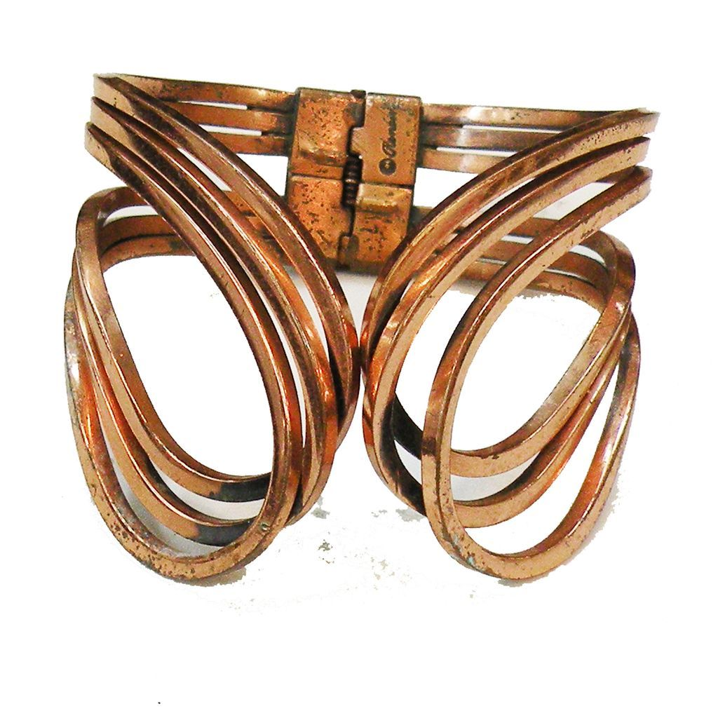 RENOIR Copper Modernist Triple Swirl Hinged Clamper Cuff Bracelet