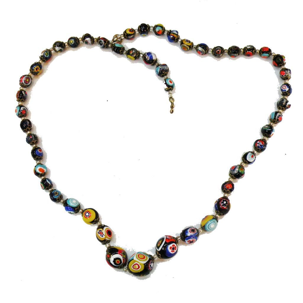 Italian Millefiore Black and Bright Color Bead Necklace