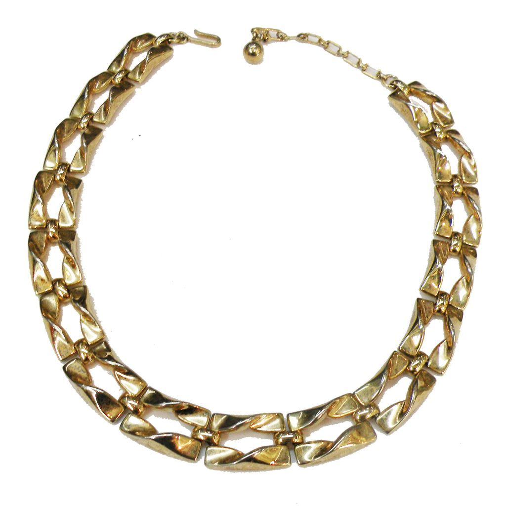 Industrial Deco Articulated Link Gold Tone Necklace.