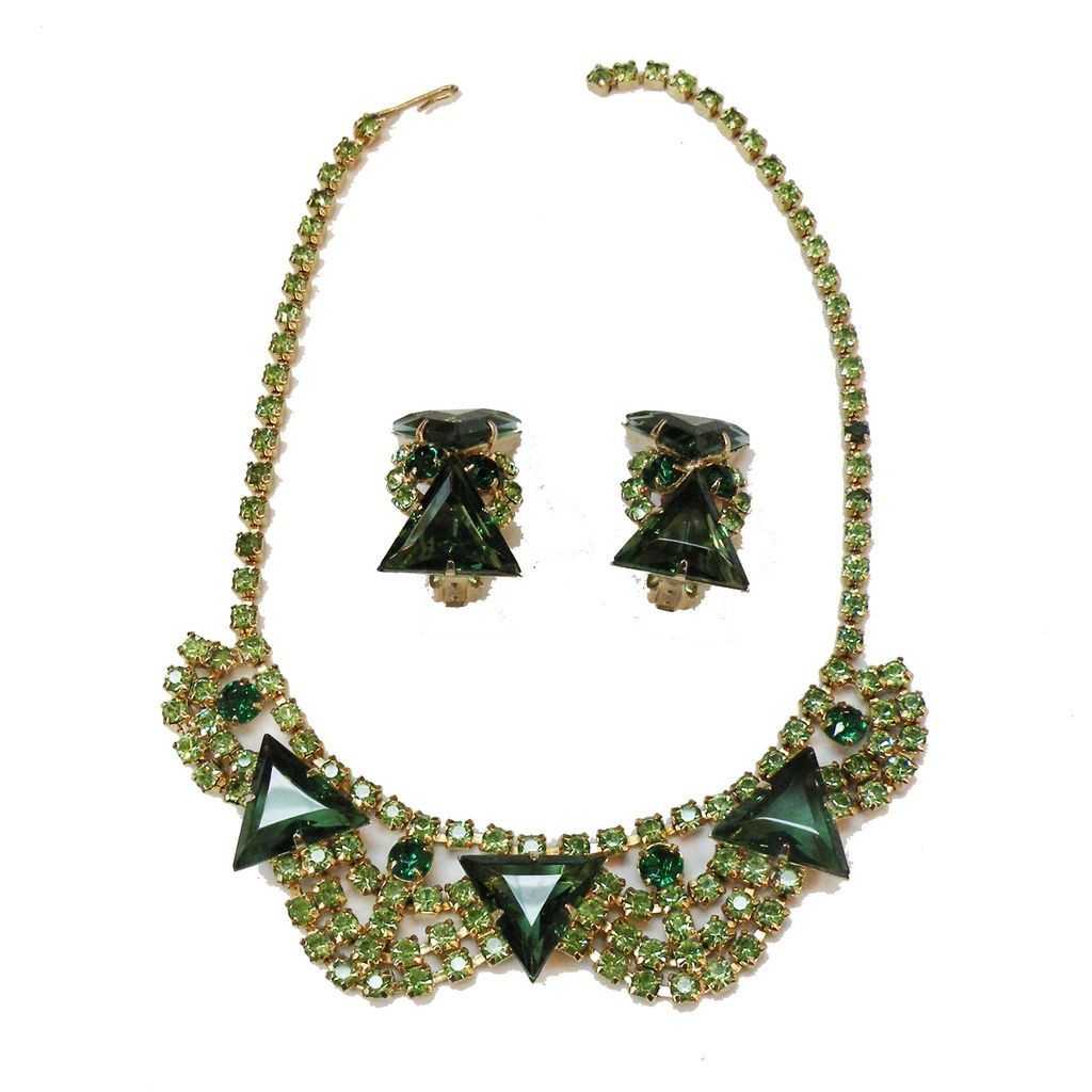 Green and Peridot Rhinestone Necklace and Earrings