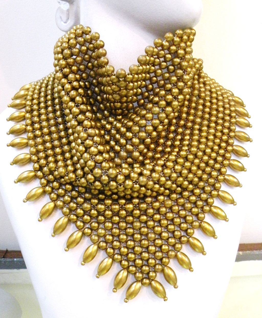 Beaded Mesh Gold Tone Draped Bib Necklace with Bead Fringe