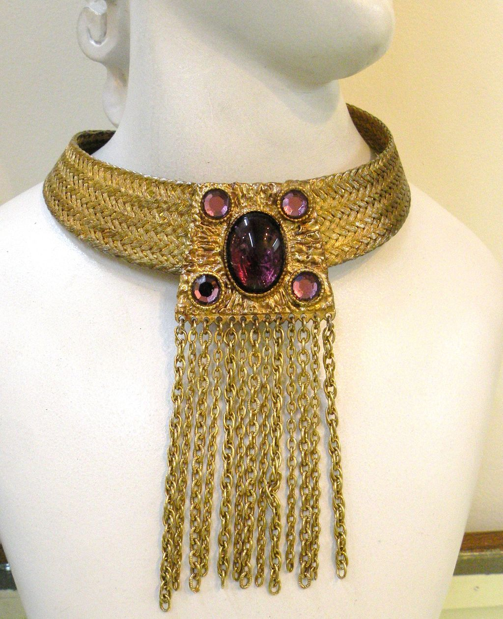 Egyptian Revival Woven Mesh Collar with Fringed Purple Drop Center