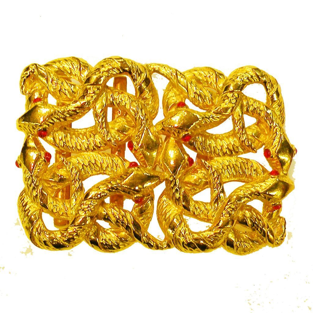 ORIGINAL by ROBERT Rich Bright Gold Tone Slithering Snake Belt Buckle with Red Eyes