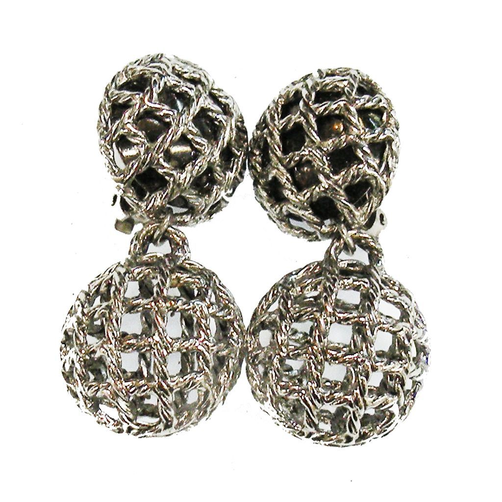 Silver Tone Base Metal Cross Hatch Caged Double Drop Earrings