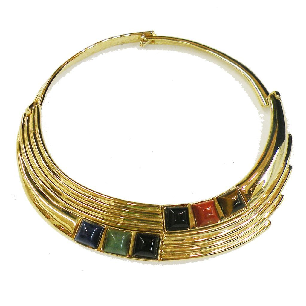 ALEXIS KIRK Hinged Gold Tone Metal Collar Necklace with Semi Precious Stones