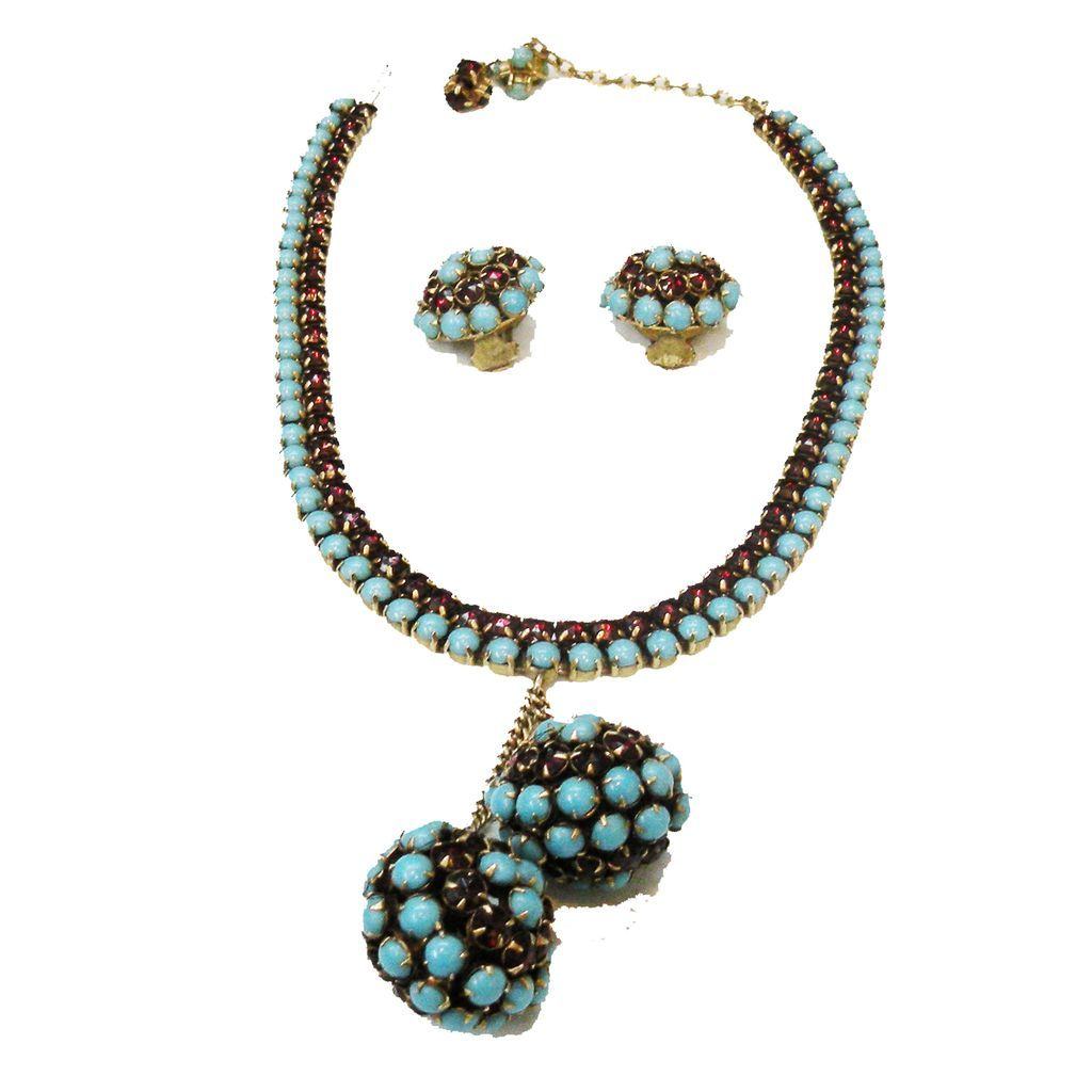 HATTIE CARNEGIE Turq and Dark Red Rhinestone Necklace and Earrings
