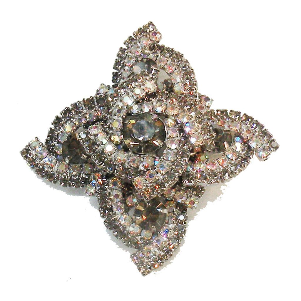 Black Diamond and Aurora Borealis Rhinestone Layered Luxurious Brooch