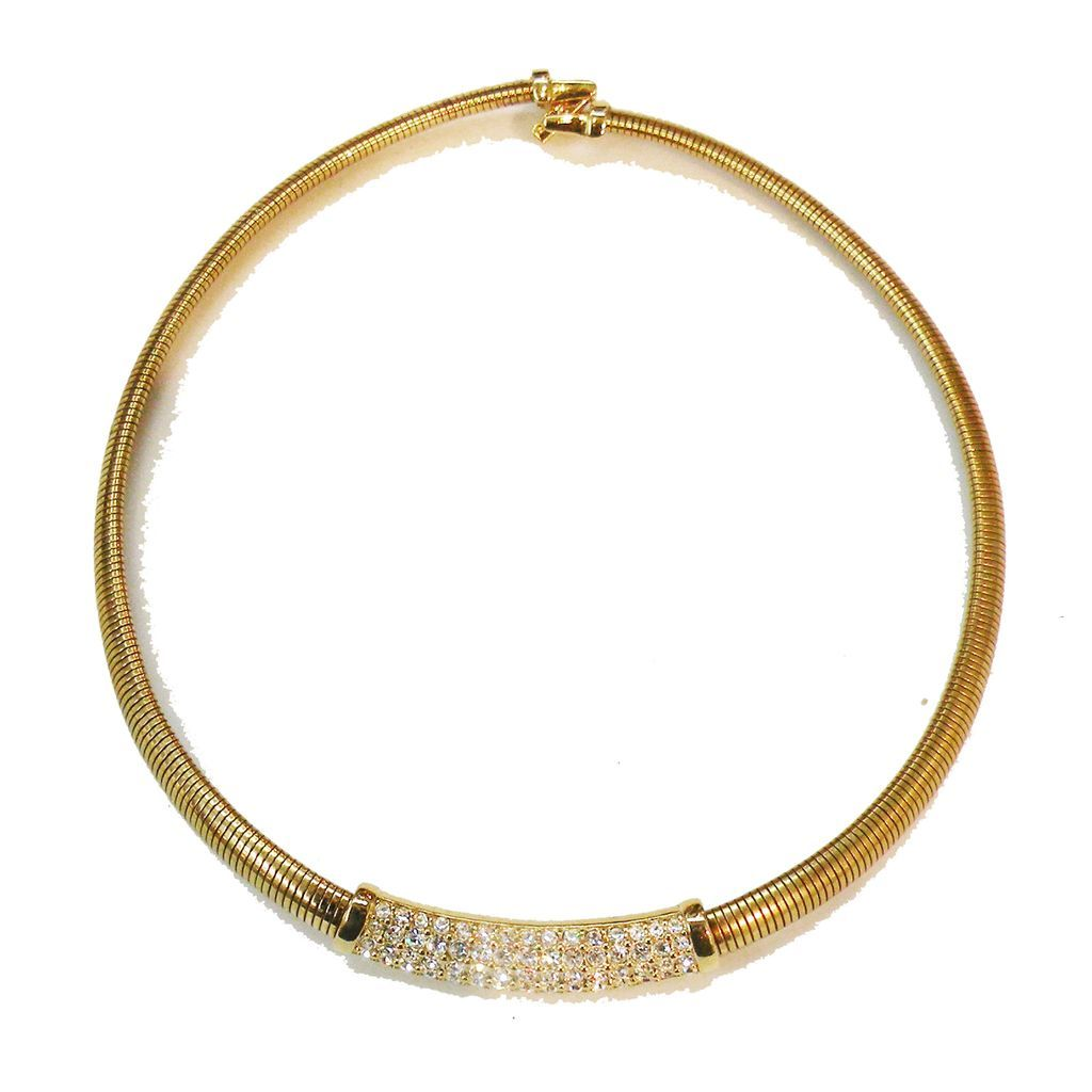 SWAROVSKI Crystal and Gold Tone Metal Snake Collar Necklace