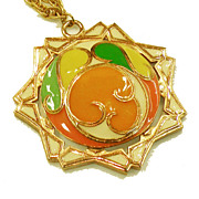 1970s Pop Op Art Orange, Green and Yellow Pendant Necklace