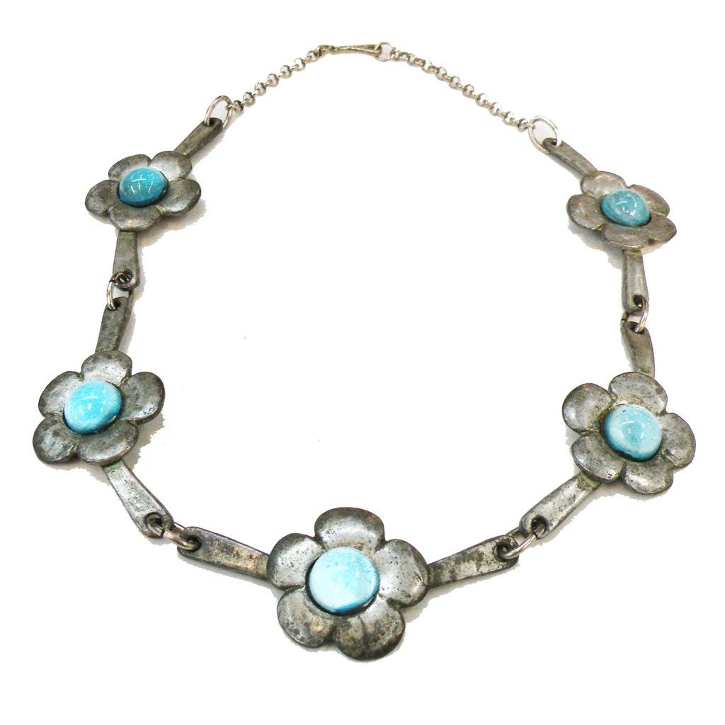 Pewter Color with Iridescent Aqua Stones Arts and Crafts Necklace