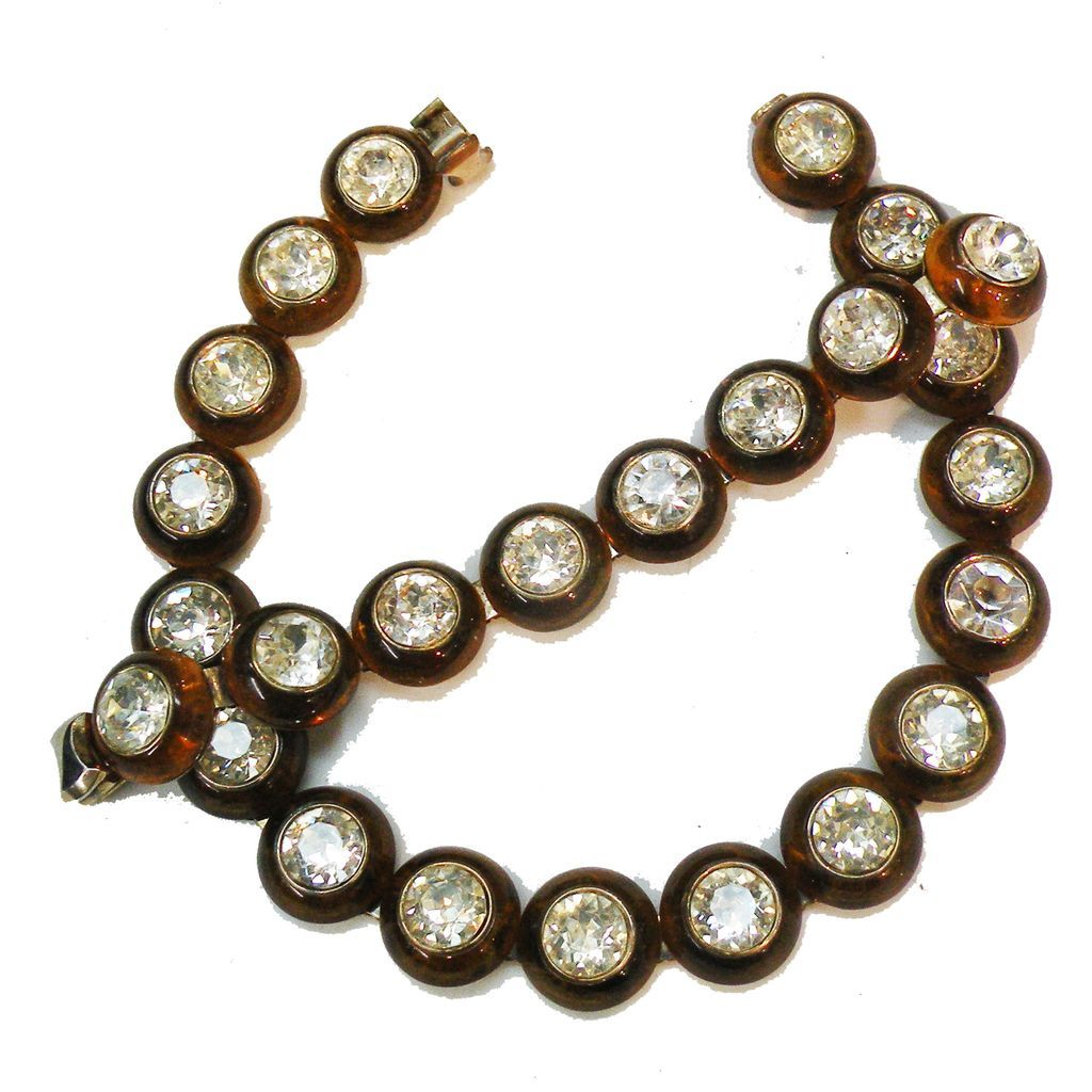 TRIFARI Ultra Rare Clear Dentelle Rhinestone in Tortoise Color Resin Necklace and Bracelet