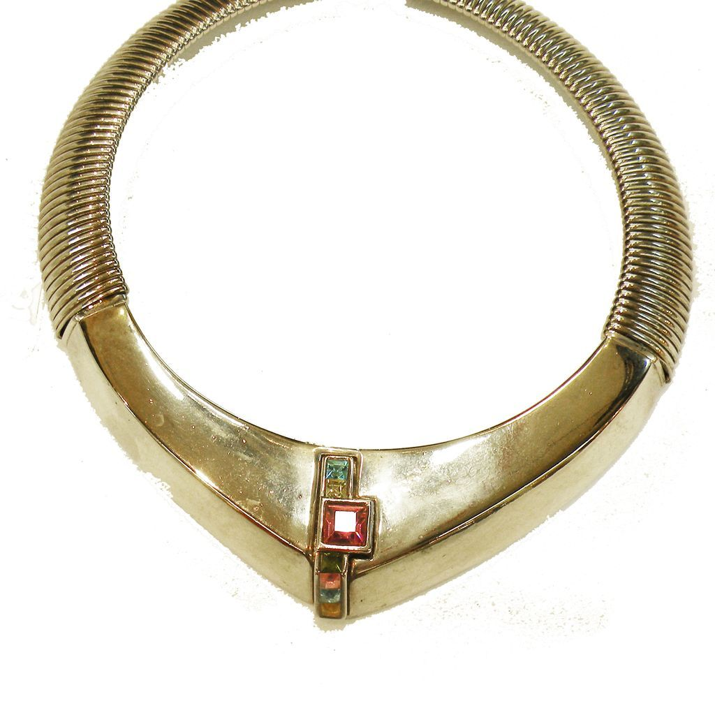 GIVENCHY Silver Tone Modernist Rigid and Coiled Choker with Multi Color Rhinestones