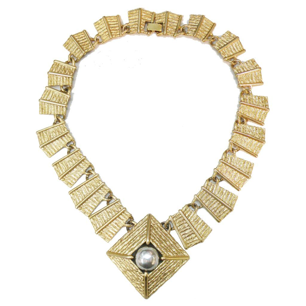 AJC Textured Gold Tone Link Necklace with Imitation Grey Pearl