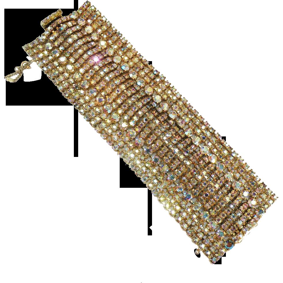 "2 5/8"" Amber Aurora Borealis Rhinestone Sparkling Stunner Hollywood Actress Bracelet Bracelet"