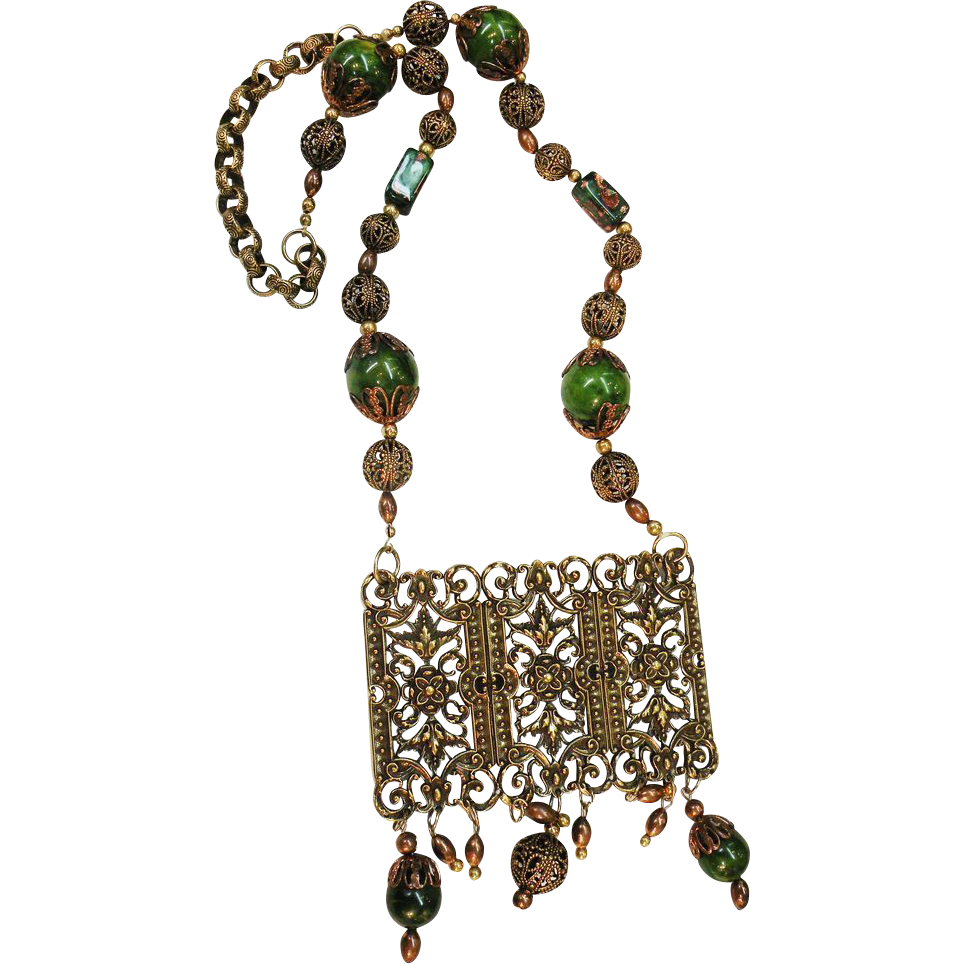 1980's Signed Large Green Etruscan Revival Beaded Filigree Pendant Necklace
