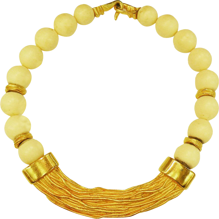 Textured Matte Gold Tone Necklace with Creme Wood Beading