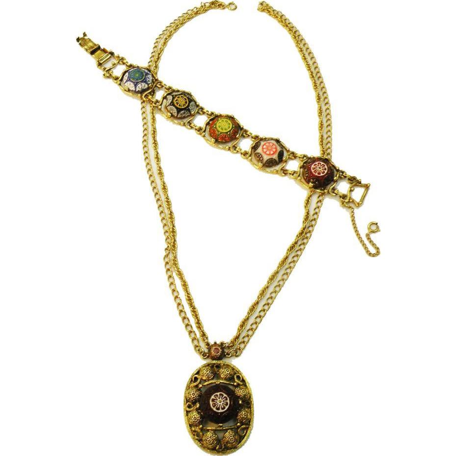 CELEBRITY Mosaic Effect Cabochon Necklace and Bracelet Set