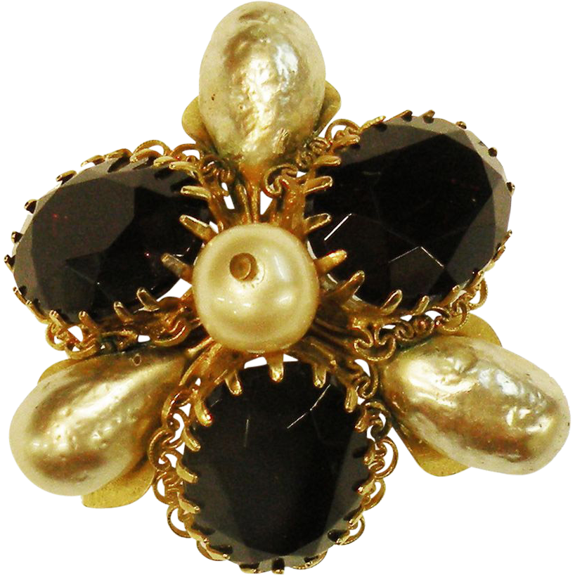 High Domed Dog Tooth Deep Red Rhinestone and Pointed Imitation Baroque Pearl Brooch