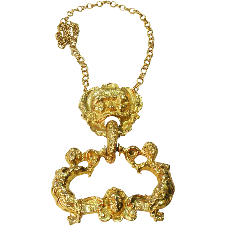 Poseidon and His Sea Nymphs Gold Tone Doorknocker Pendant Necklace