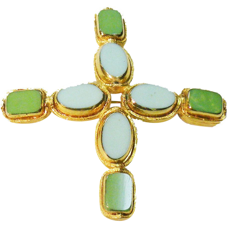 Gold Tone with Turk & Green Poured Glass Look Maltese Brooch