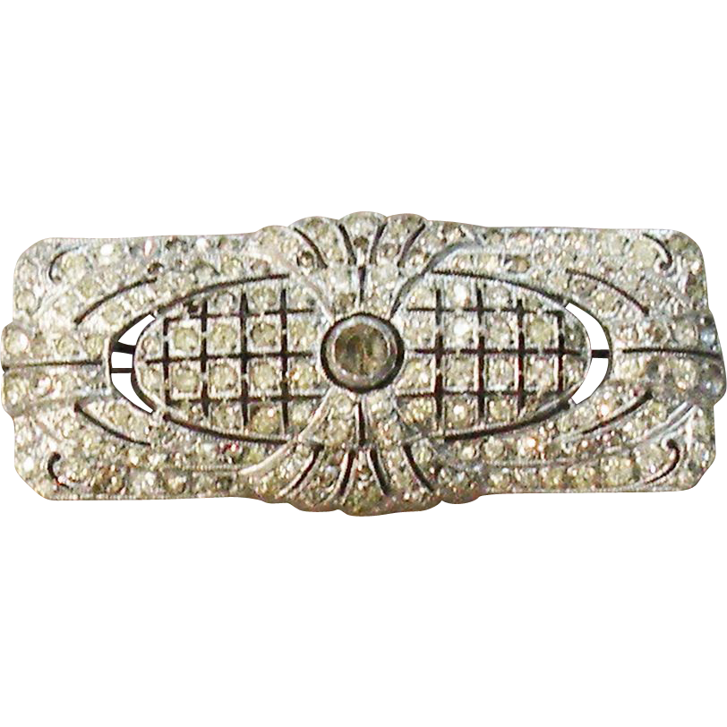 Art Deco Paste Rhodium Plated Brooch