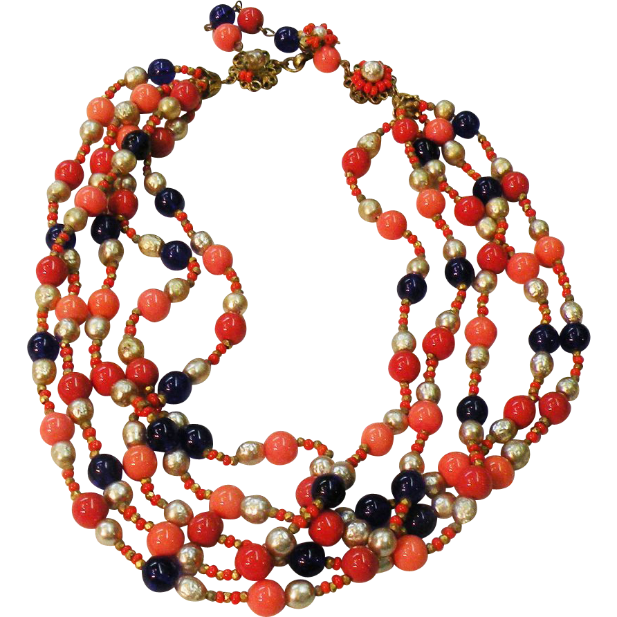 MIRIAM HASKELL Coral Colored and Royal with Imitation Pearl Multi Strand Glass Beaded Necklace