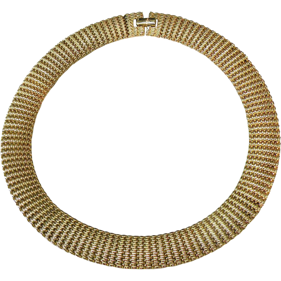VIRO Florentine Gold Plated Articulated Link Collar Necklace