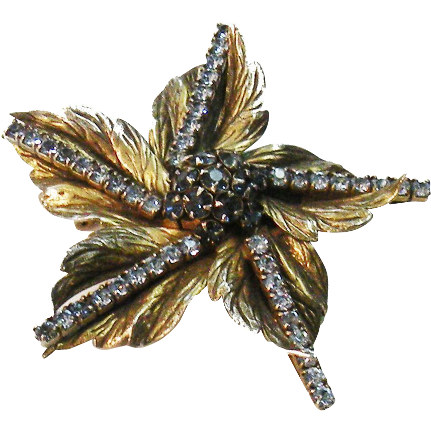 SANDOR Antique Gold Tone Metal Textured Leaf Brooch with Navy & Baby Blue Rhinestones