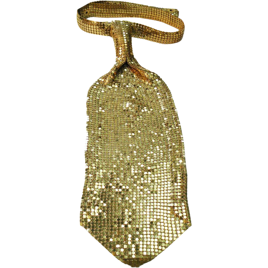 Gold Tone Metal Mesh Tie Necklace