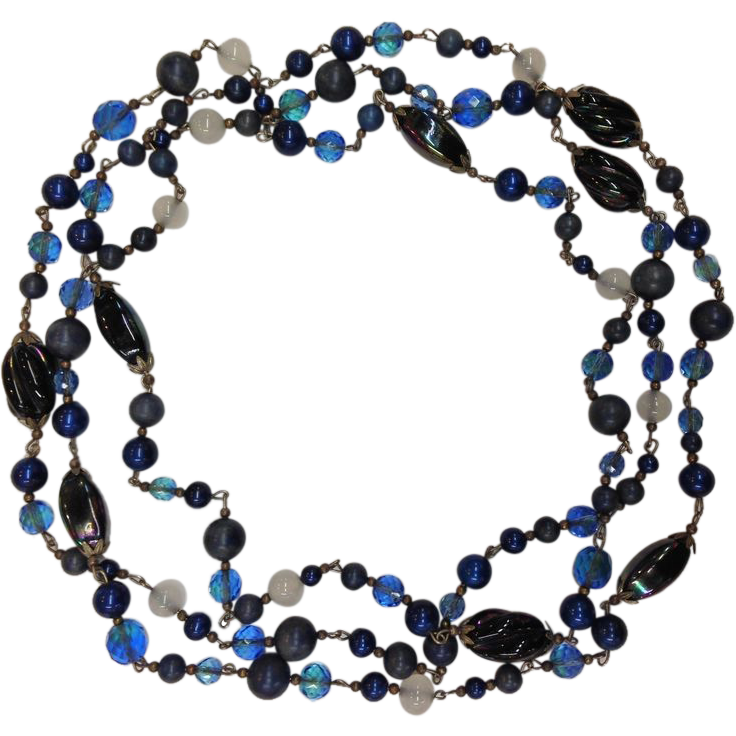 Shades of Blue Murano Glass Mixed Faceted and Round Beads Metal Strung Necklace