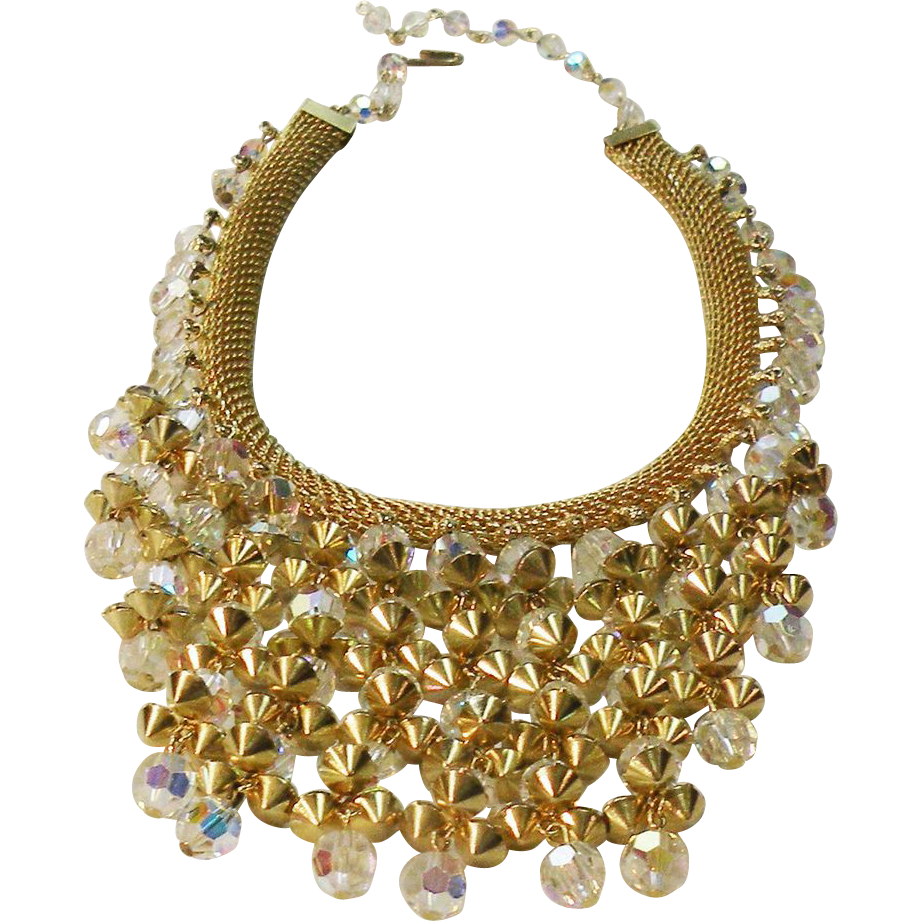 Gold Tone Metal Mesh with Aurora Borealis Beaded Tier Necklace.