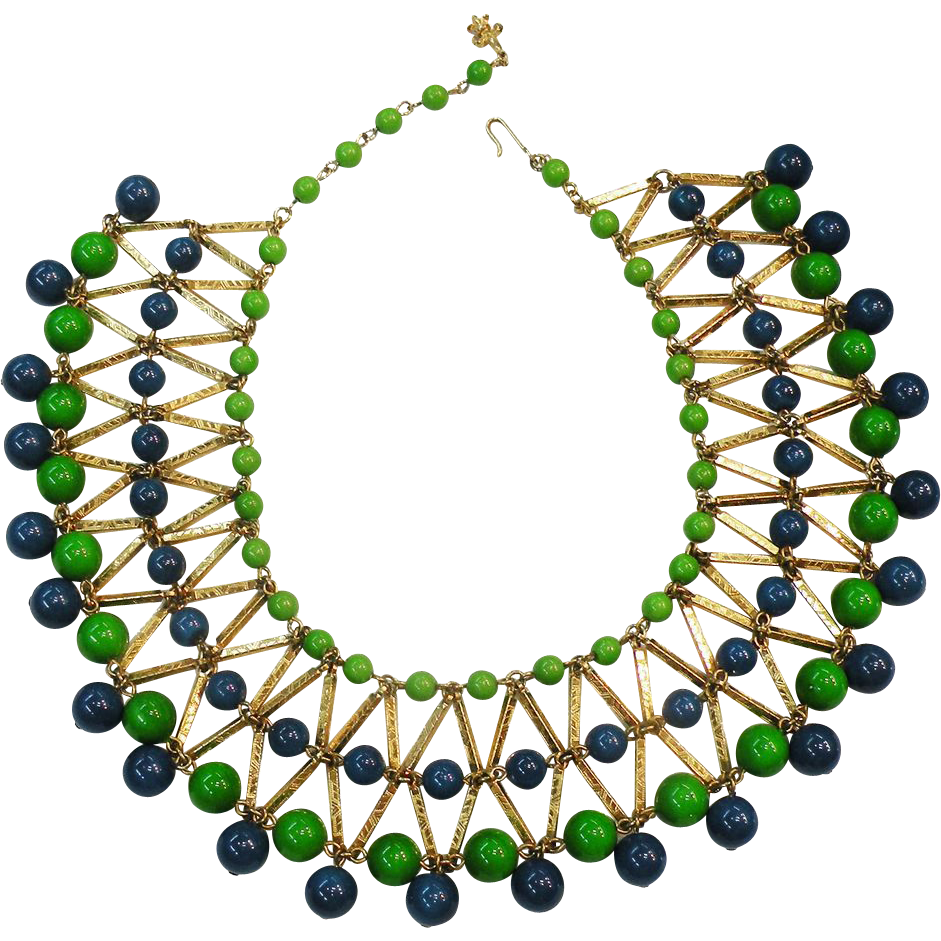 VENDOME Egyptian Revival Blue & Green Bead Gold Tone Bib Necklace