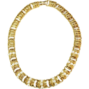MONET Articulated Link Textured Gold Plated with Imitation Pearl Necklace