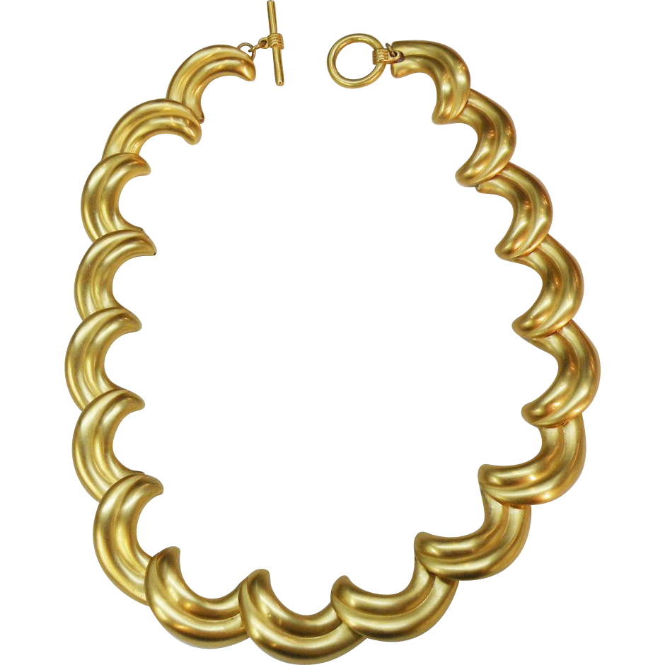 1980's Matte Gold Tone Wave Link Necklace