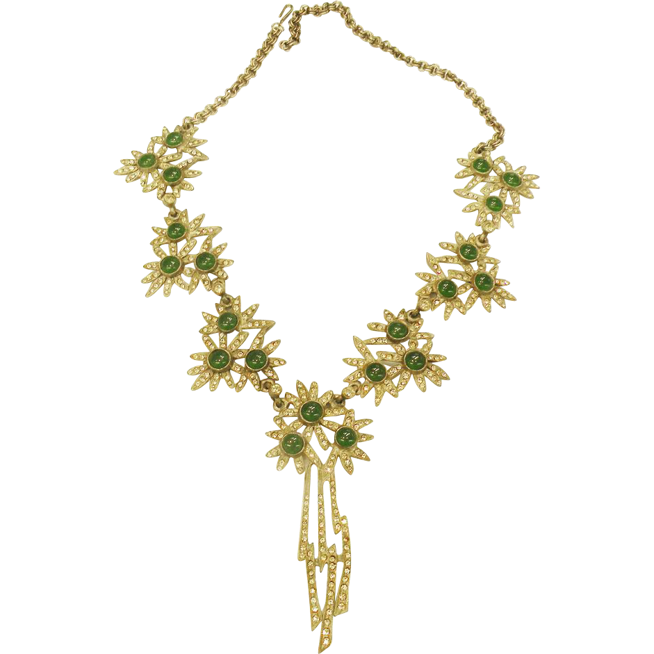 Green Glass and Rhinestone Floral Station Silver Tone Necklace.