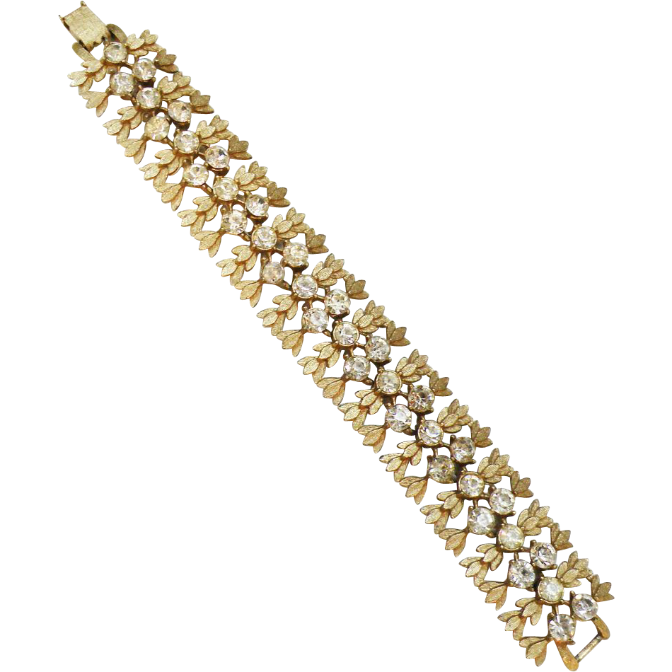 Florentine Gold Tone Textured Leaf Stalk with Rhinestone Center Bracelet