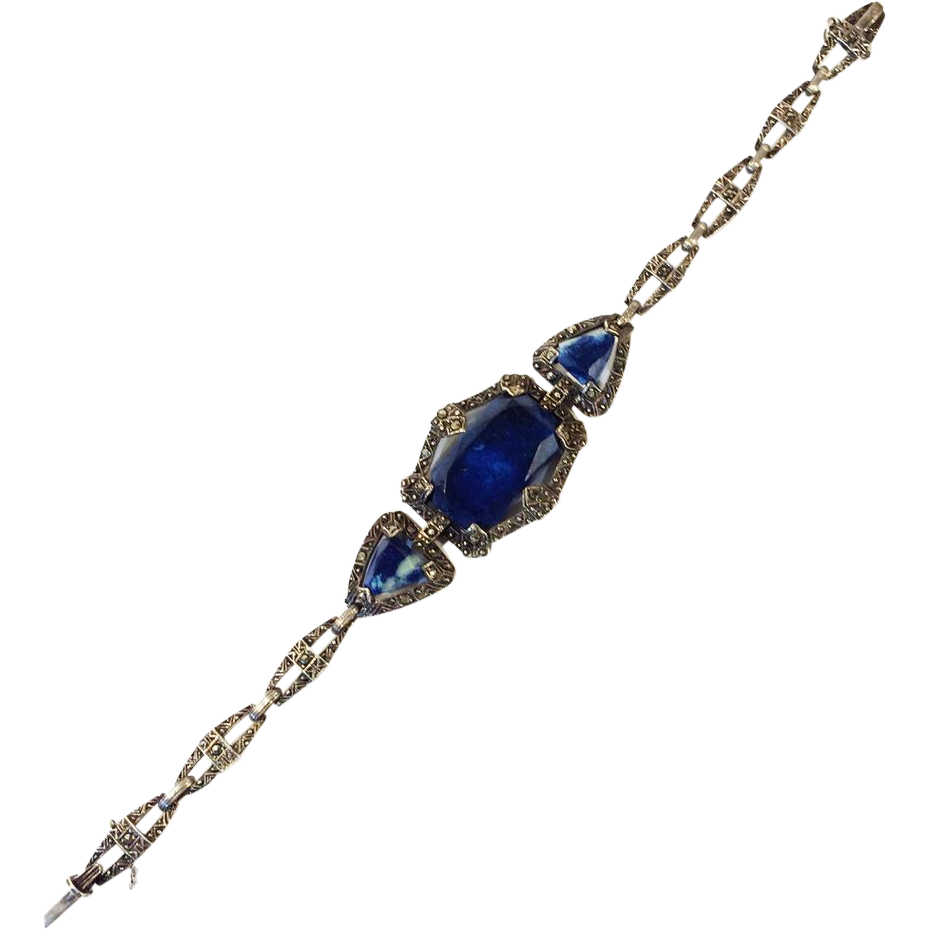 Art Deco Sterling Silver Marcasite and Sodalite Link Bracelet