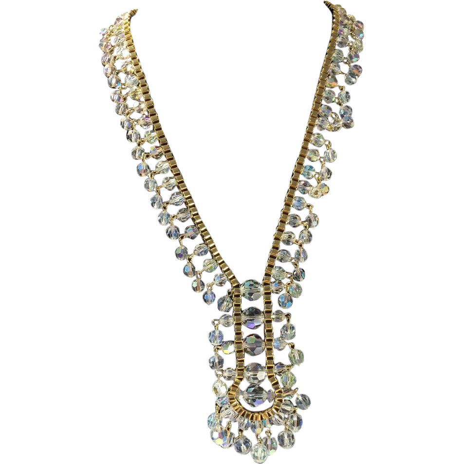 "Gold Tone Faceted Clear Crystal Beads ""Y"" Shape Necklace"
