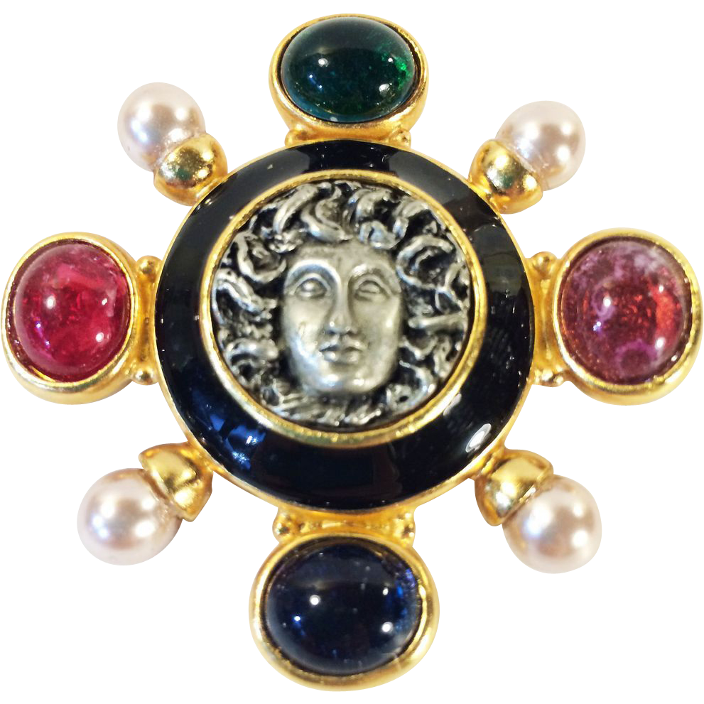 Medusa Head Mogul Colored Glass Cabochon with Imitation Pearls & Enamel Gold Tone Brooch